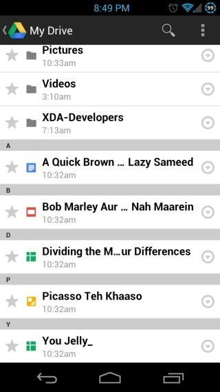 Google-Drive-for-Android-File-List
