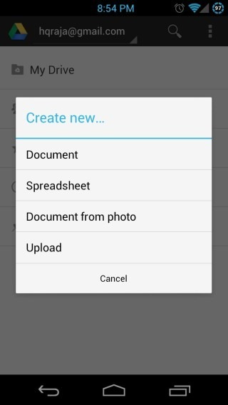 Google-Drive-for-Android-New-Document